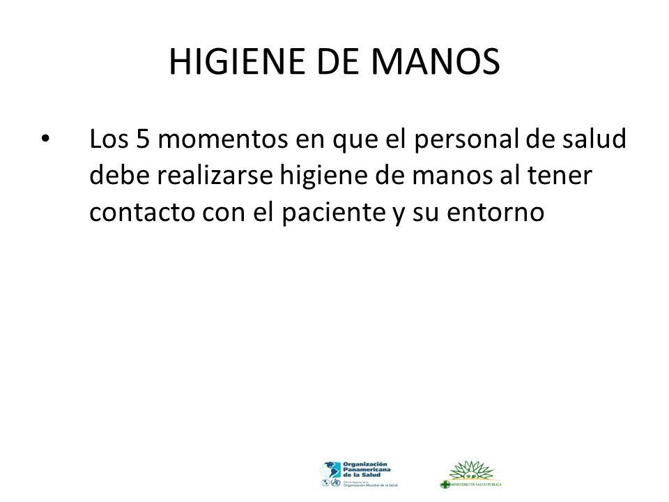 HIGIENE DE MANOS Los 5 momentos en que el personal de salud debe realizarse higiene de manos al tener contacto con el paciente y su entorno.
