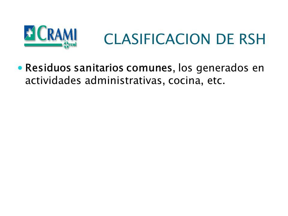 CLASIFICACION DE RSH Residuos sanitarios comunes, los generados en actividades administrativas, cocina, etc.