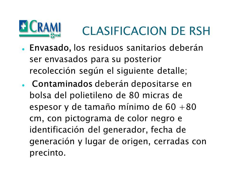CLASIFICACION DE RSH Envasado, los residuos sanitarios deberán ser envasados para su posterior recolección según el siguiente detalle;