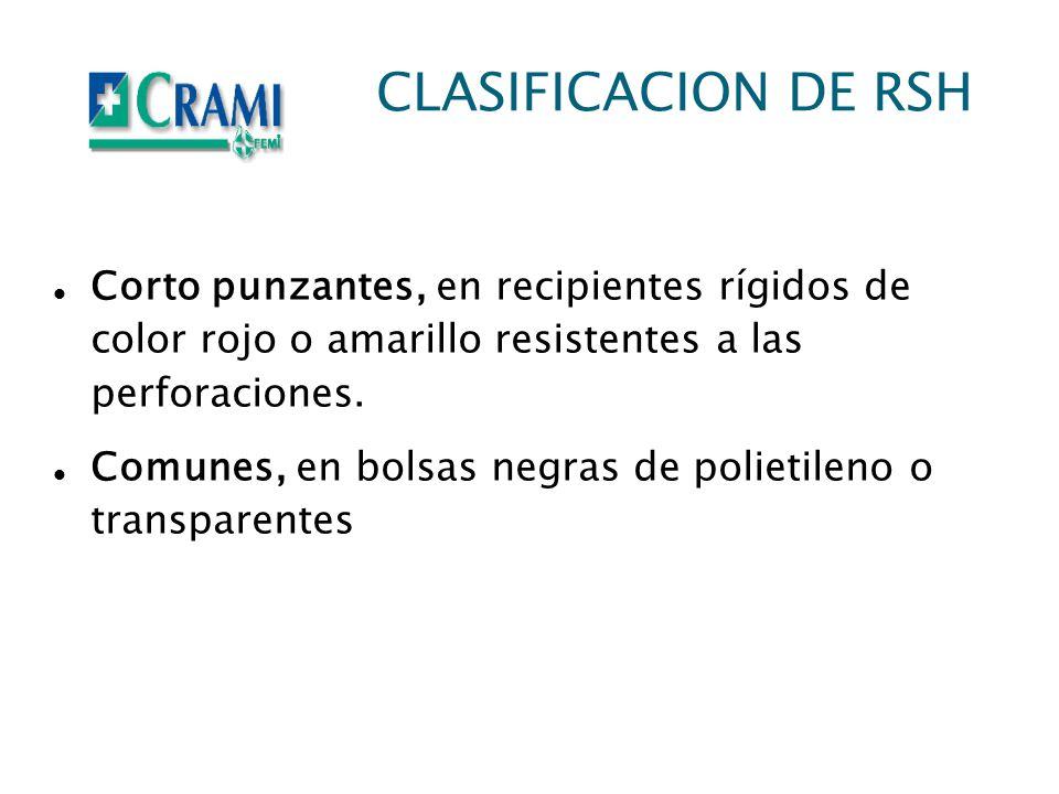 CLASIFICACION DE RSH Corto punzantes, en recipientes rígidos de color rojo o amarillo resistentes a las perforaciones.