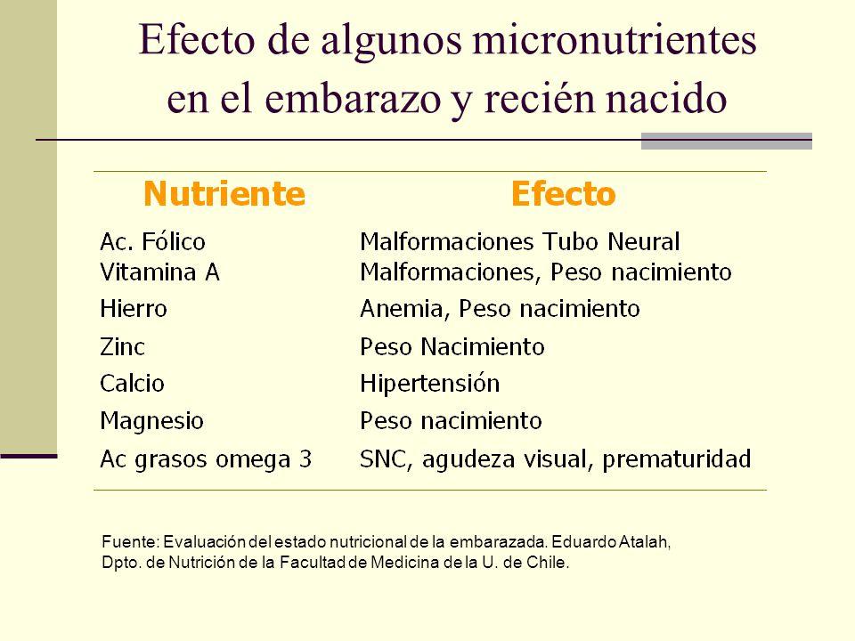 Efecto de algunos micronutrientes en el embarazo y recién nacido