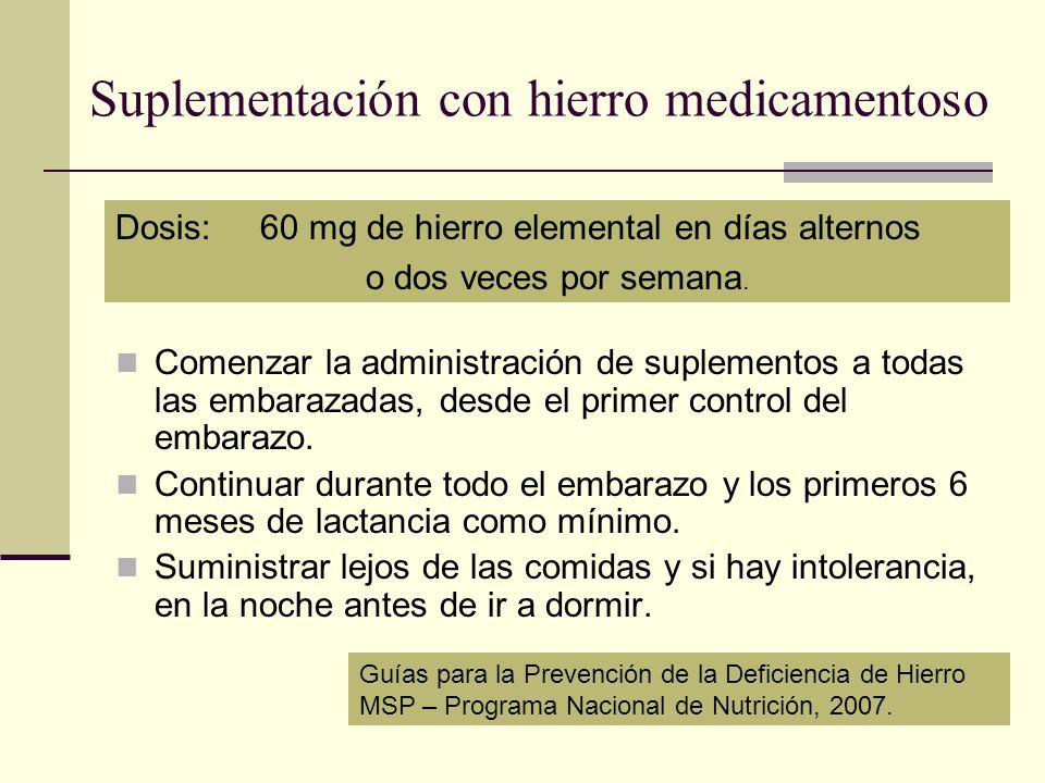 Suplementación con hierro medicamentoso