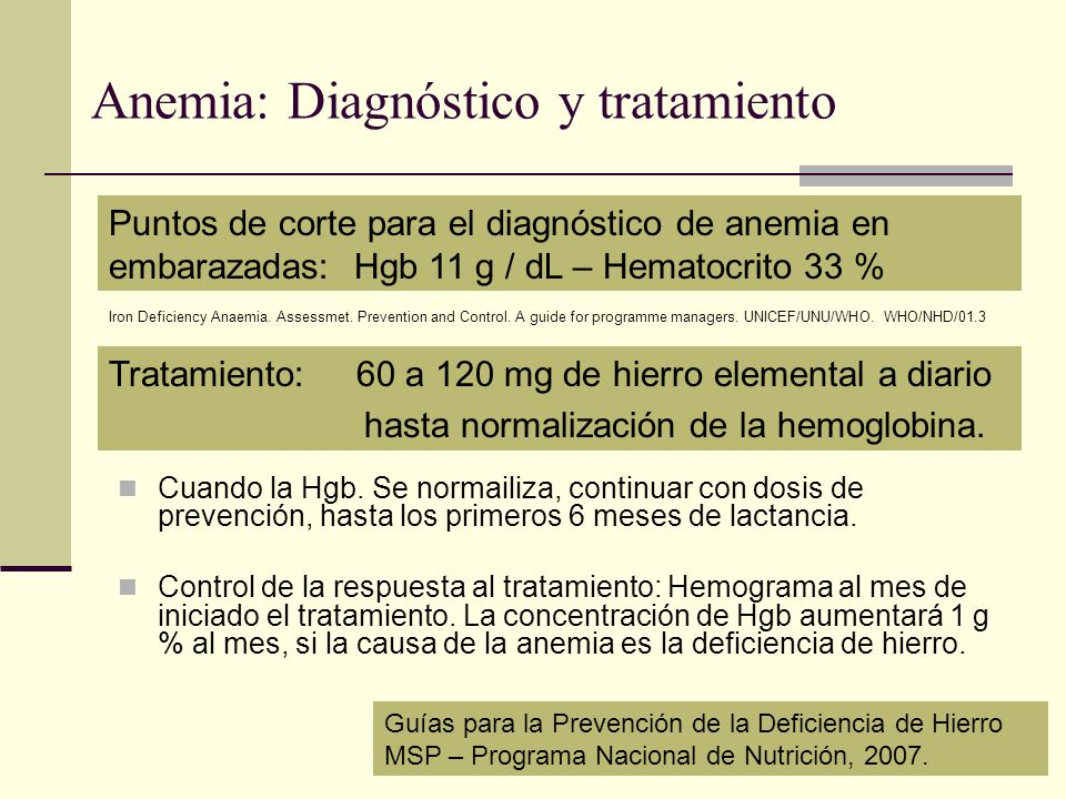 Anemia: Diagnóstico y tratamiento