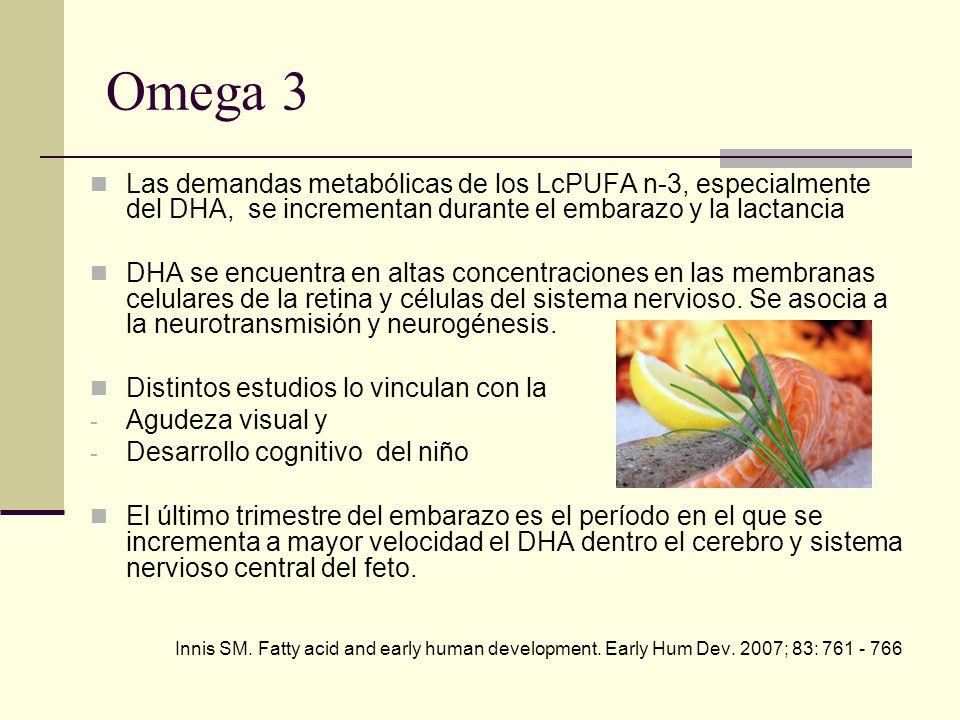 Omega 3 Las demandas metabólicas de los LcPUFA n-3, especialmente del DHA, se incrementan durante el embarazo y la lactancia.