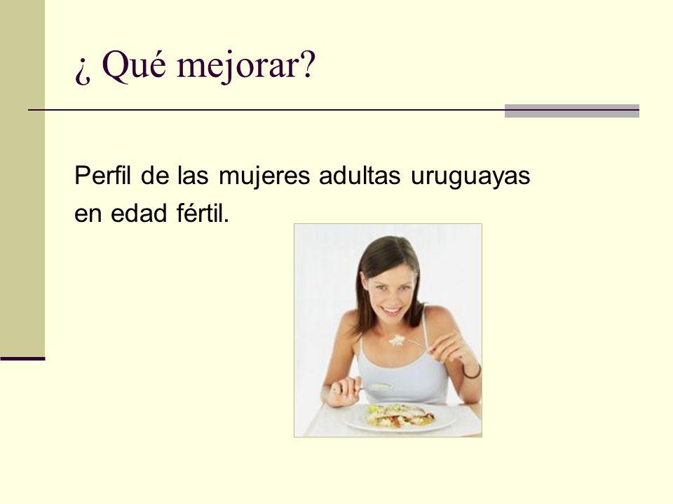 ¿ Qué mejorar Perfil de las mujeres adultas uruguayas en edad fértil.