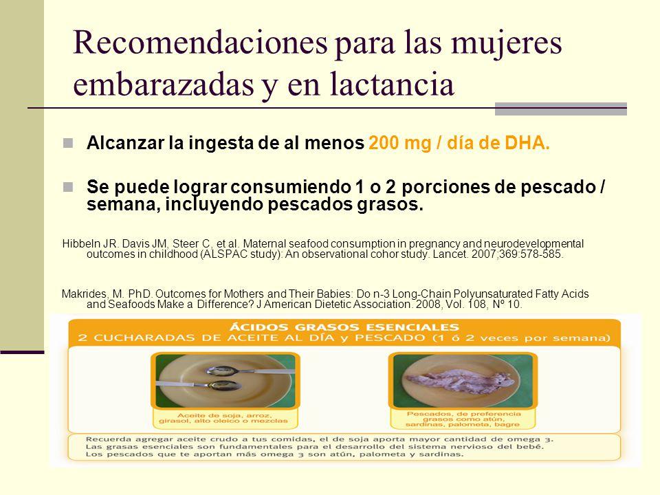 Recomendaciones para las mujeres embarazadas y en lactancia