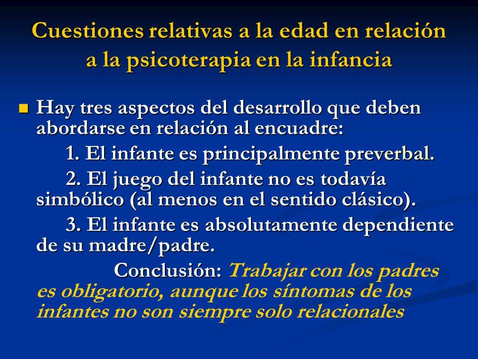 Cuestiones relativas a la edad en relación a la psicoterapia en la infancia