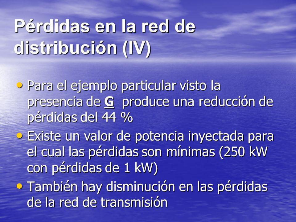 Pérdidas en la red de distribución (IV)