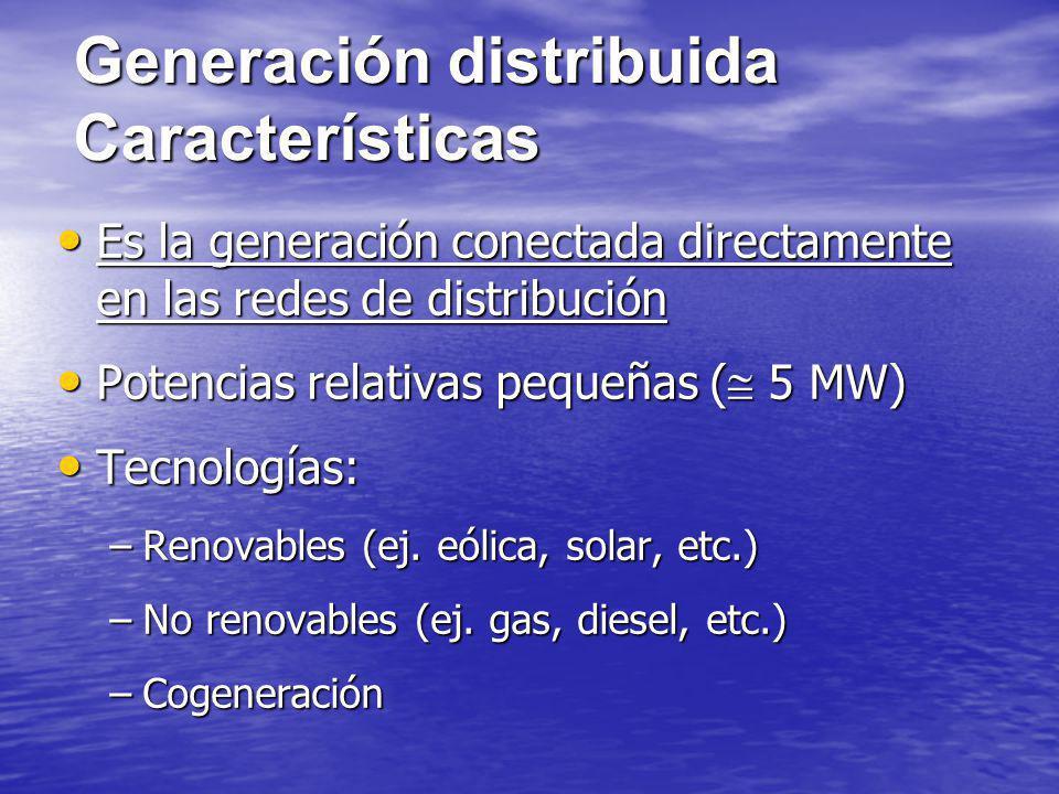 Generación distribuida Características