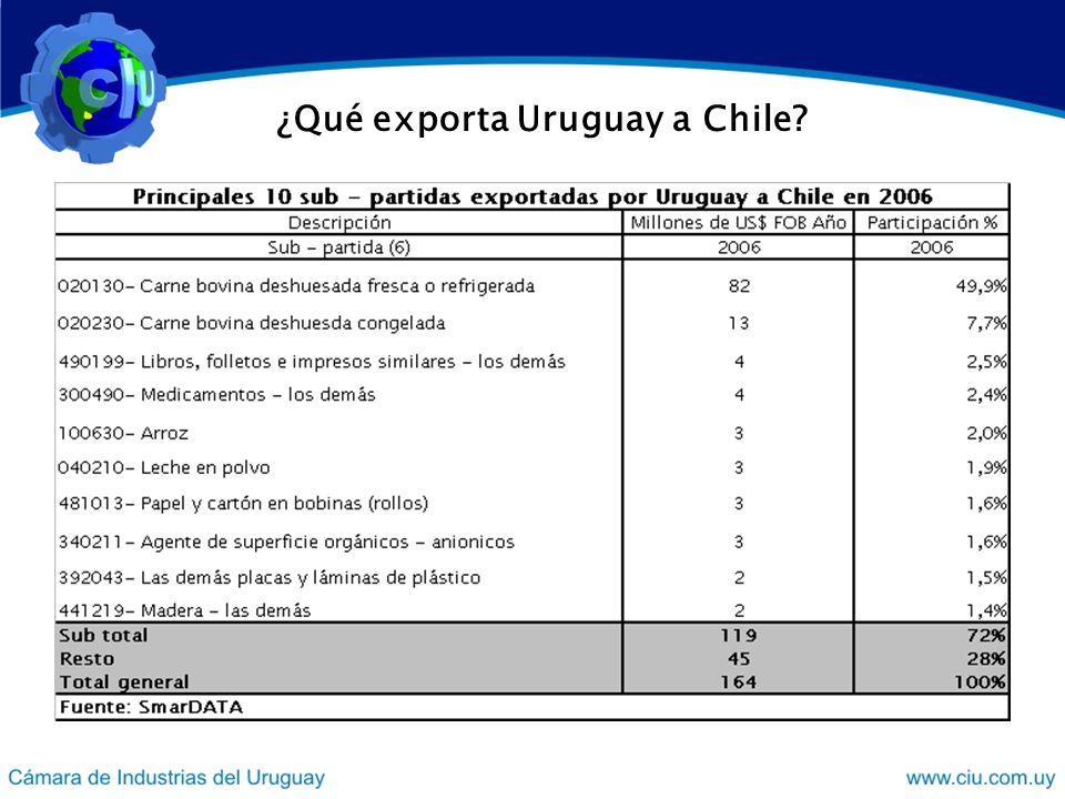 ¿Qué exporta Uruguay a Chile
