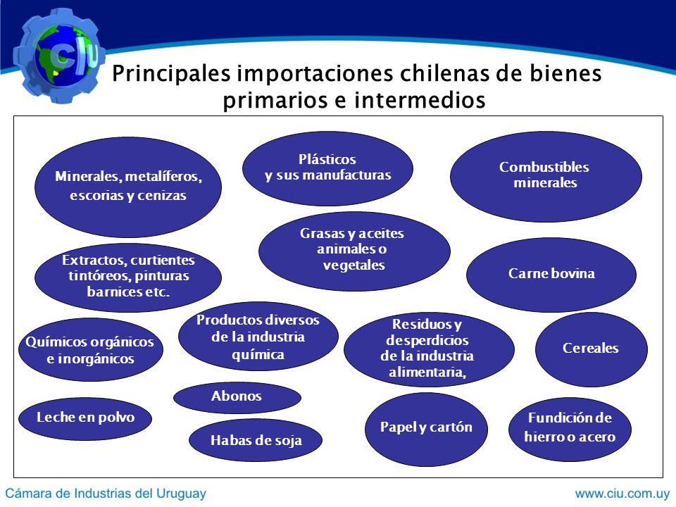 Principales importaciones chilenas de bienes primarios e intermedios