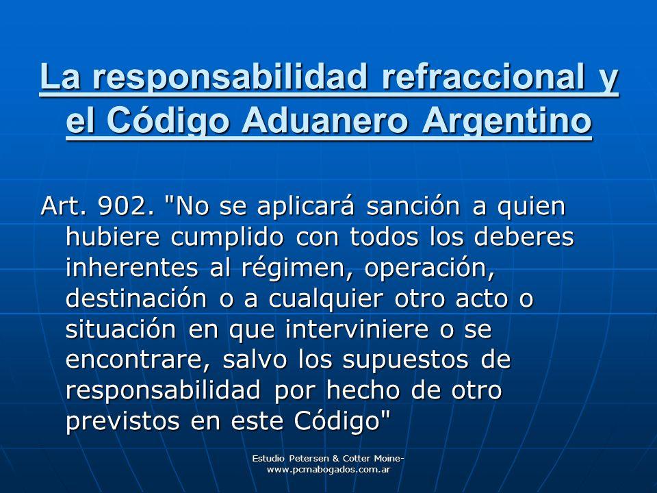 La responsabilidad refraccional y el Código Aduanero Argentino