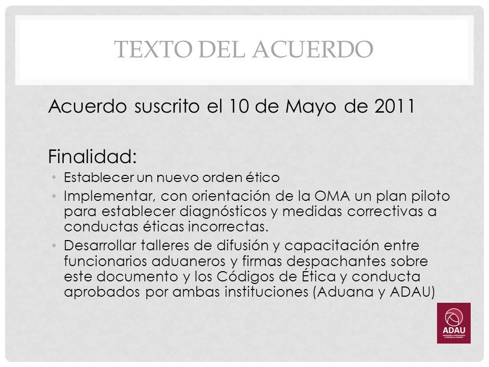 TEXTO DEL ACUERDO Acuerdo suscrito el 10 de Mayo de 2011 Finalidad: