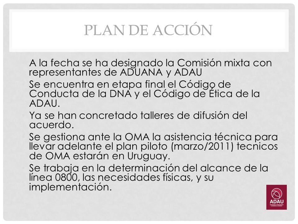 PLAN DE ACCIÓN A la fecha se ha designado la Comisión mixta con representantes de ADUANA y ADAU.