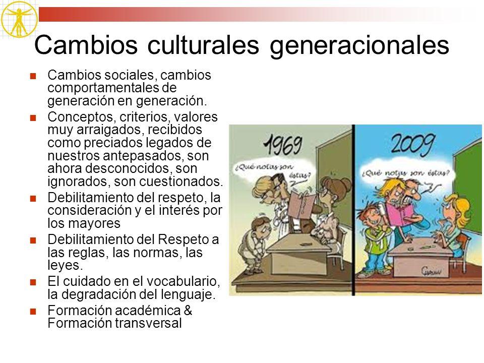 Cambios culturales generacionales