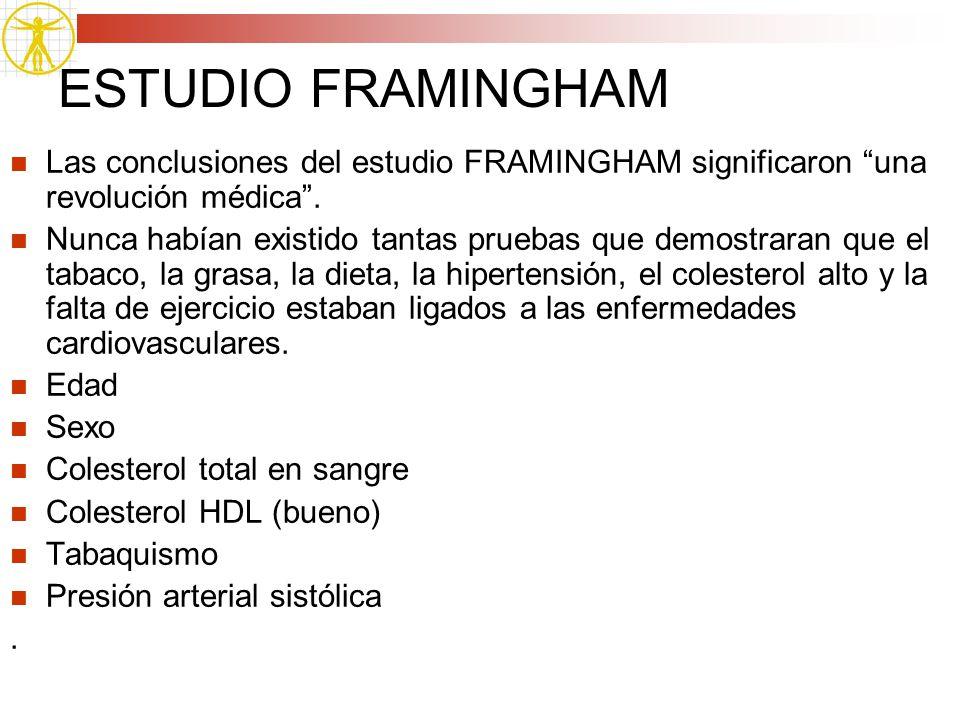 ESTUDIO FRAMINGHAM Las conclusiones del estudio FRAMINGHAM significaron una revolución médica .