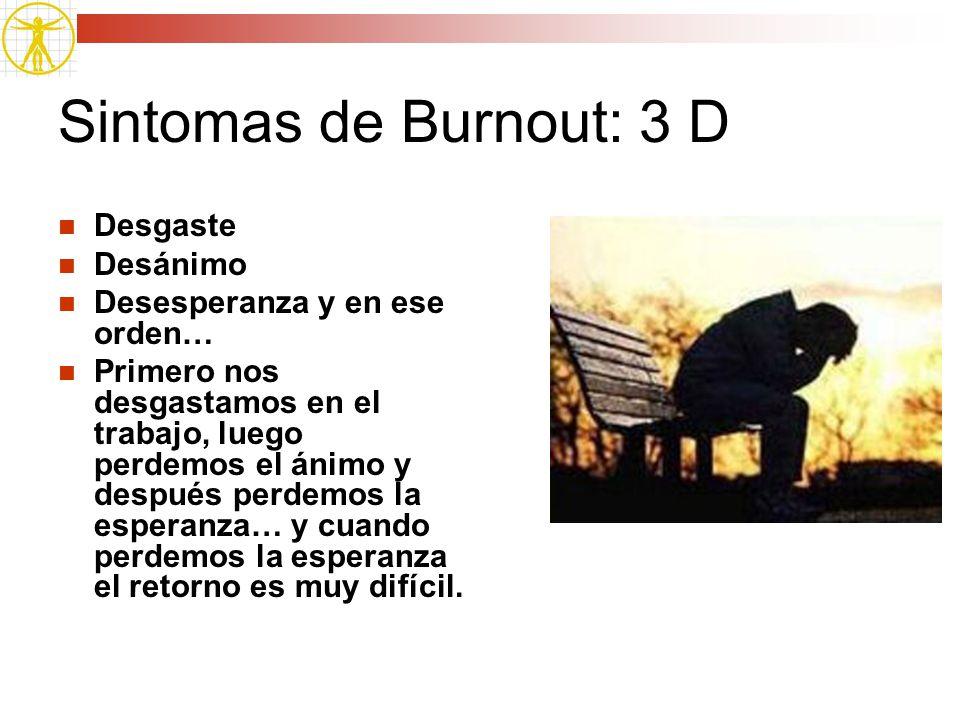 Sintomas de Burnout: 3 D Desgaste Desánimo