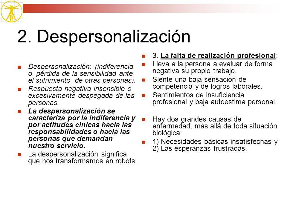 2. Despersonalización 3. La falta de realización profesional: