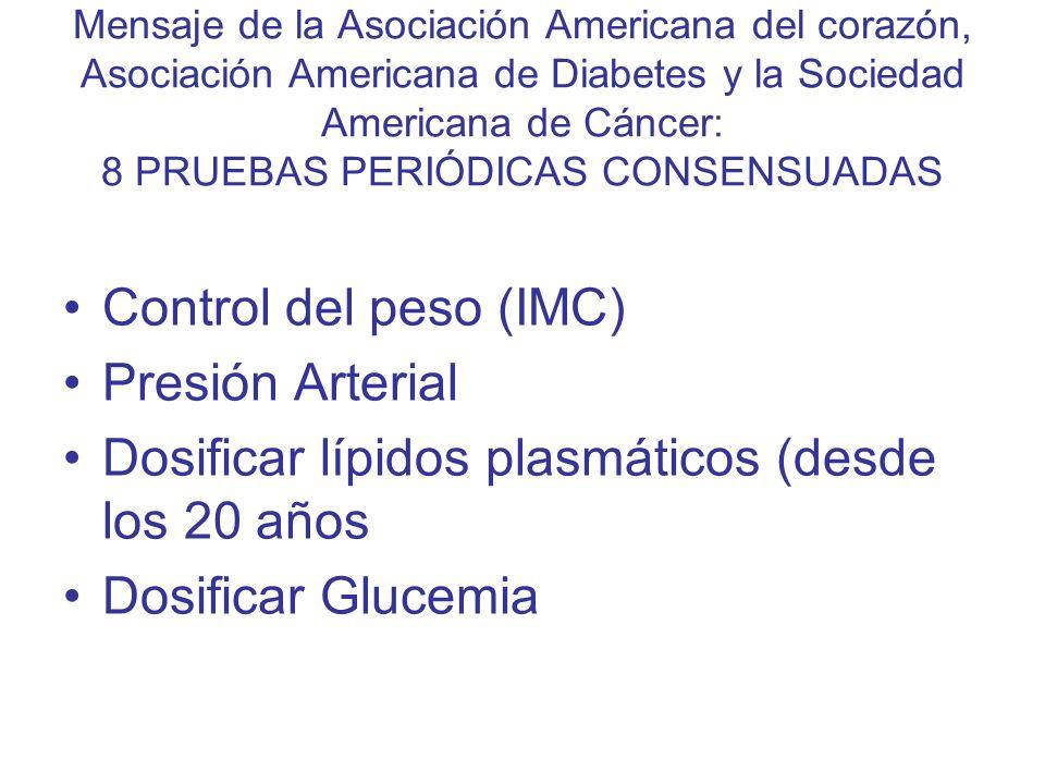 Dosificar lípidos plasmáticos (desde los 20 años Dosificar Glucemia