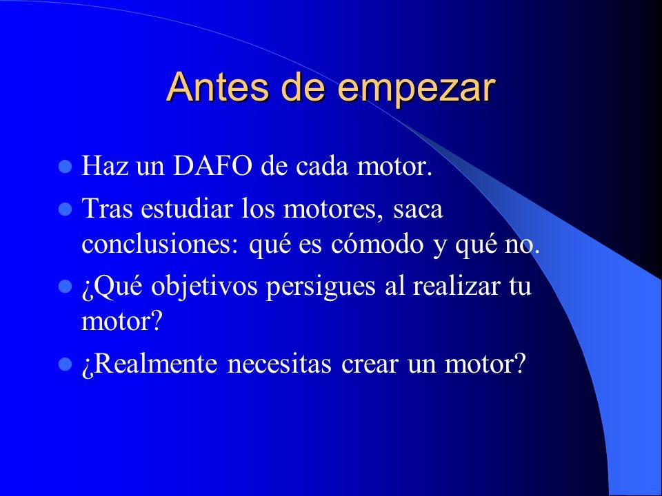 Antes de empezar Haz un DAFO de cada motor.