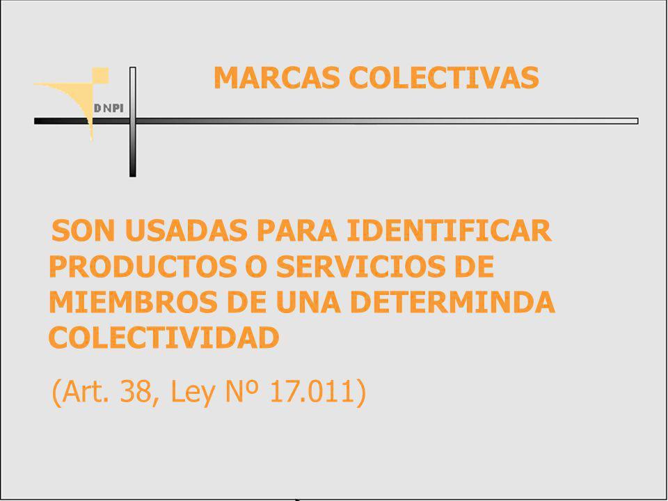 MARCAS COLECTIVAS SON USADAS PARA IDENTIFICAR PRODUCTOS O SERVICIOS DE MIEMBROS DE UNA DETERMINDA COLECTIVIDAD.