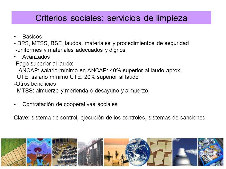 Criterios sociales: servicios de limpieza