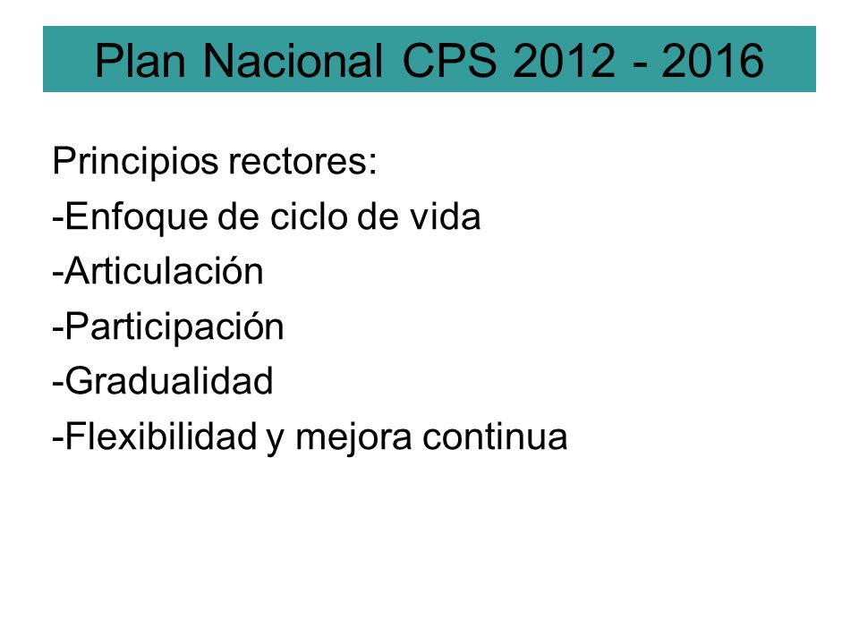 Plan Nacional CPS 2012 - 2016 Principios rectores: