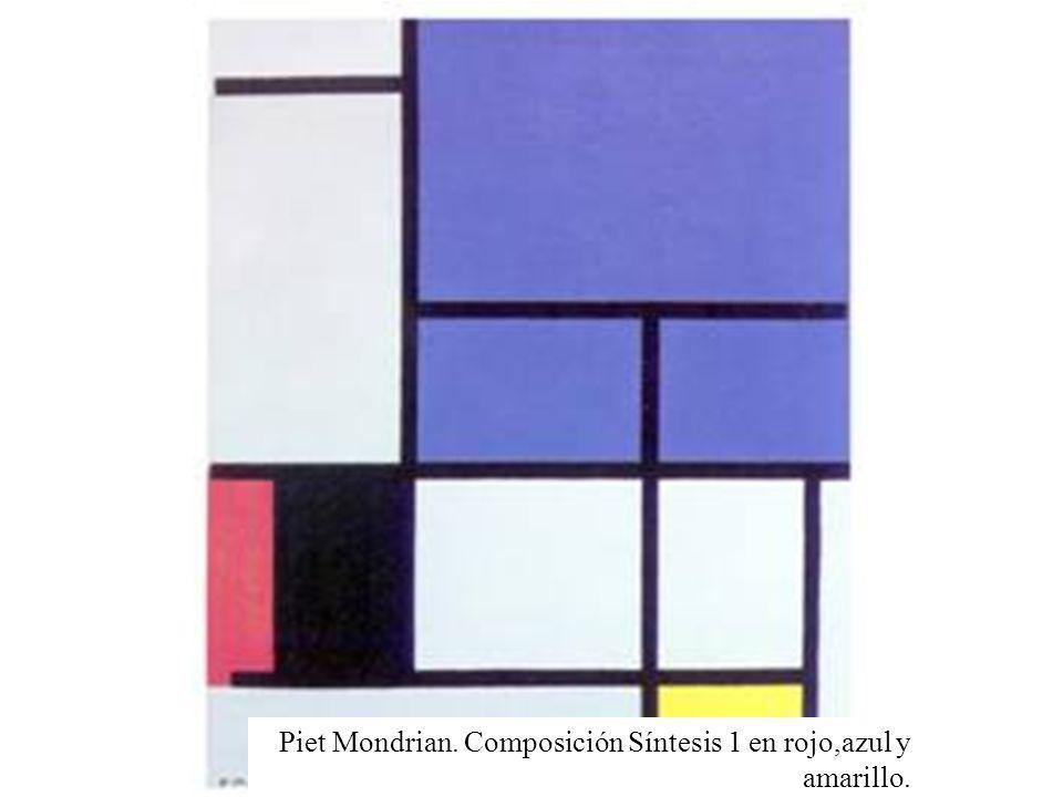 Piet Mondrian. Composición Síntesis 1 en rojo,azul y amarillo.