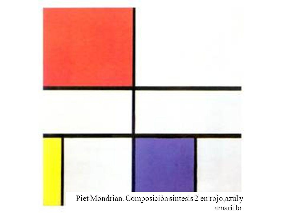 Piet Mondrian. Composición sintesis 2 en rojo,azul y amarillo.