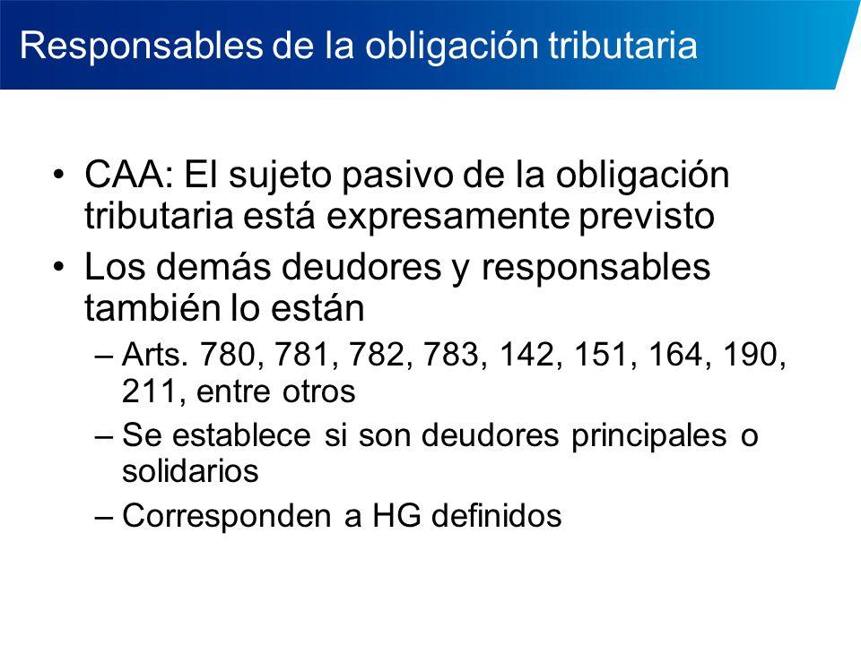 Responsables de la obligación tributaria