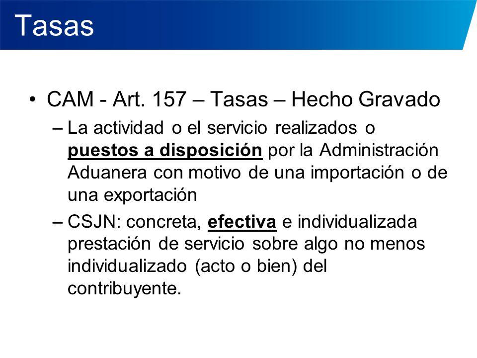 Tasas CAM - Art. 157 – Tasas – Hecho Gravado