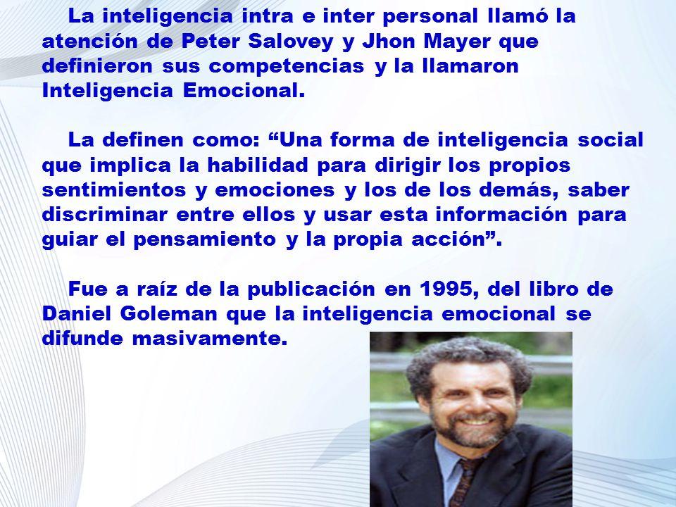 La inteligencia intra e inter personal llamó la atención de Peter Salovey y Jhon Mayer que definieron sus competencias y la llamaron Inteligencia Emocional.