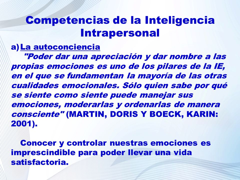 Competencias de la Inteligencia Intrapersonal