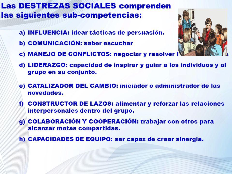 Las DESTREZAS SOCIALES comprenden las siguientes sub-competencias: