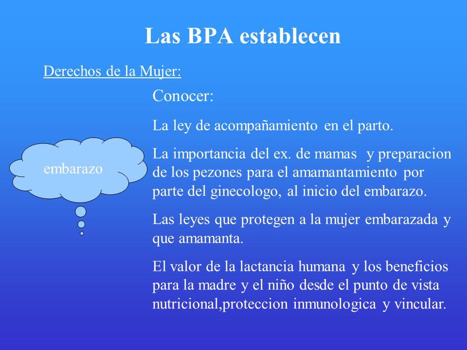 Las BPA establecen Conocer: Derechos de la Mujer: