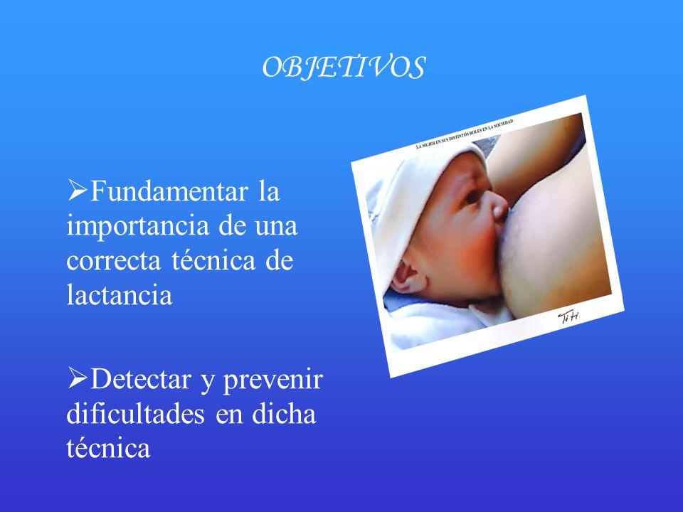 OBJETIVOS Fundamentar la importancia de una correcta técnica de lactancia.
