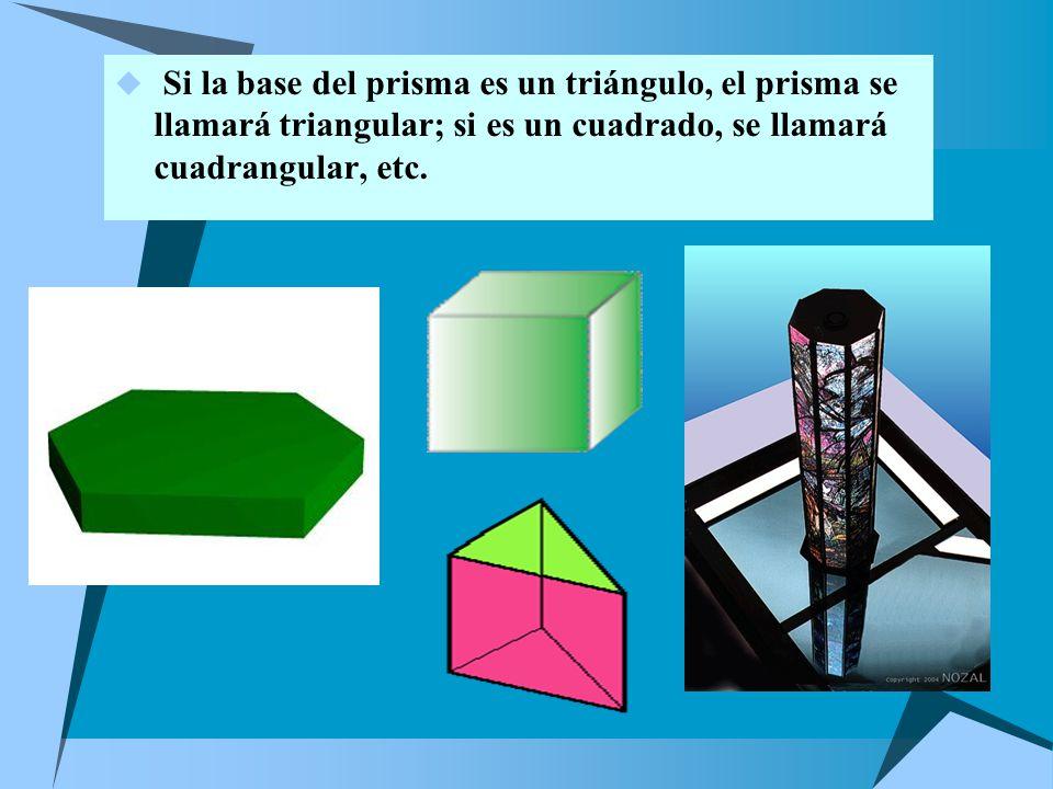 Si la base del prisma es un triángulo, el prisma se llamará triangular; si es un cuadrado, se llamará cuadrangular, etc.