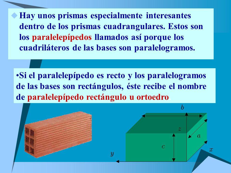 Hay unos prismas especialmente interesantes dentro de los prismas cuadrangulares. Estos son los paralelepípedos llamados así porque los cuadriláteros de las bases son paralelogramos.
