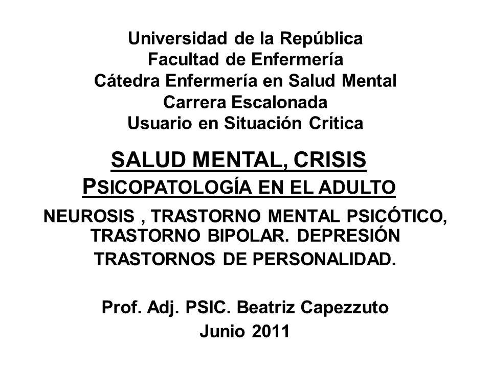 SALUD MENTAL, CRISIS PSICOPATOLOGÍA EN EL ADULTO