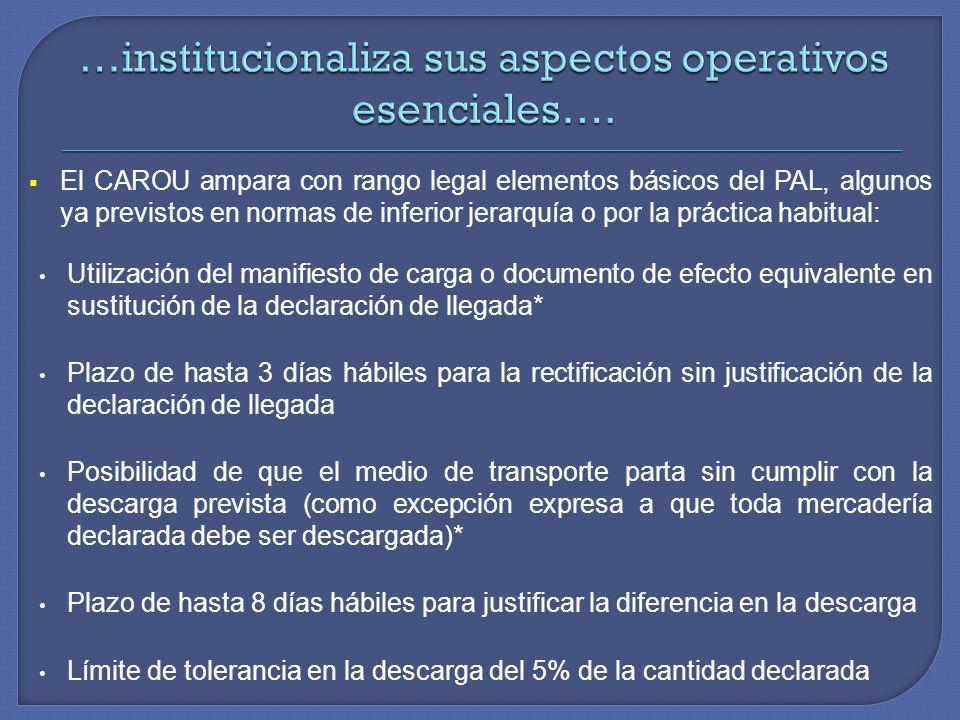 …institucionaliza sus aspectos operativos esenciales….