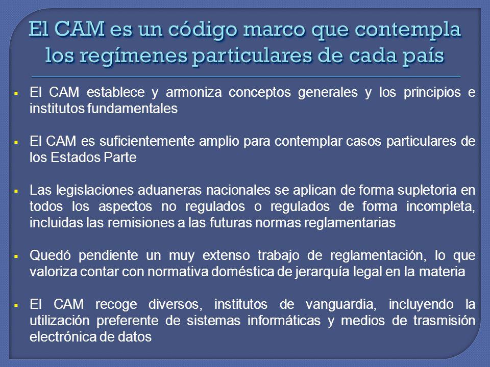 El CAM es un código marco que contempla los regímenes particulares de cada país