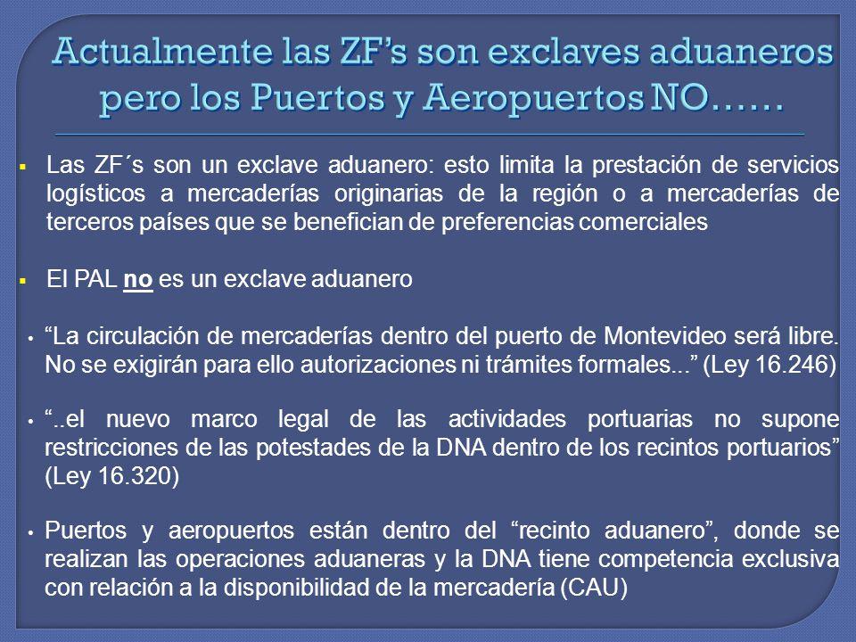 Actualmente las ZF's son exclaves aduaneros pero los Puertos y Aeropuertos NO……