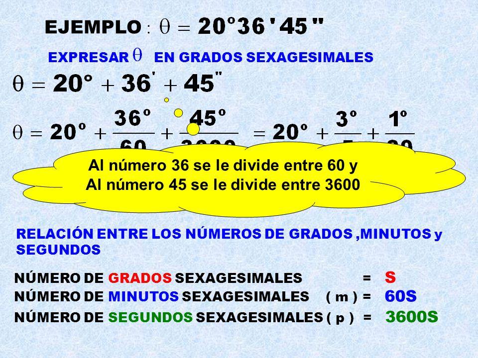 EJEMPLO : Al número 36 se le divide entre 60 y