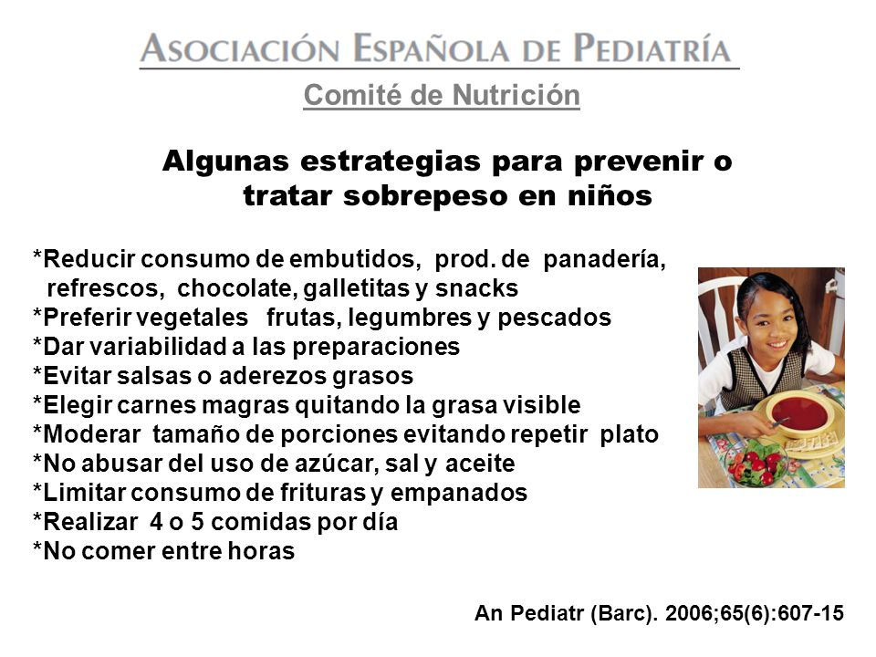 Algunas estrategias para prevenir o tratar sobrepeso en niños