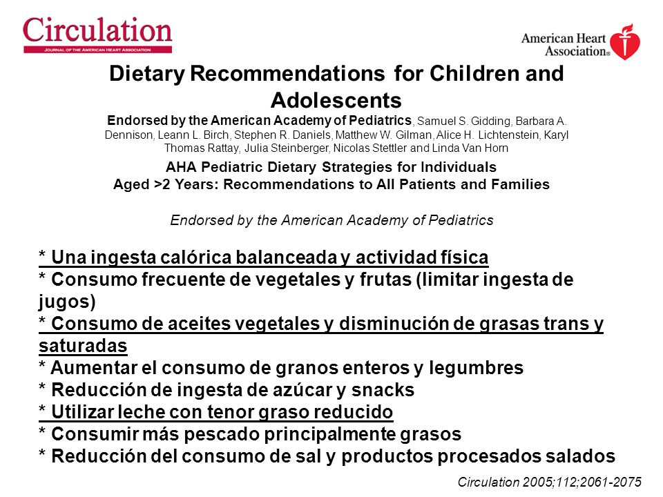 Dietary Recommendations for Children and Adolescents