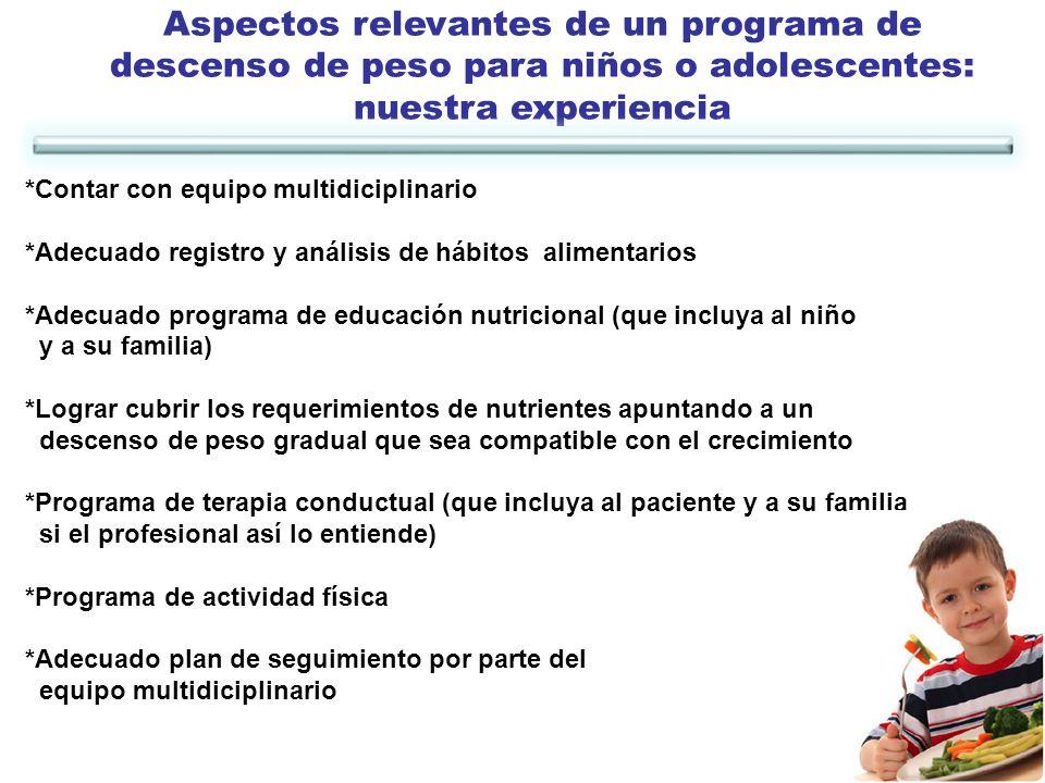 Aspectos relevantes de un programa de descenso de peso para niños o adolescentes:
