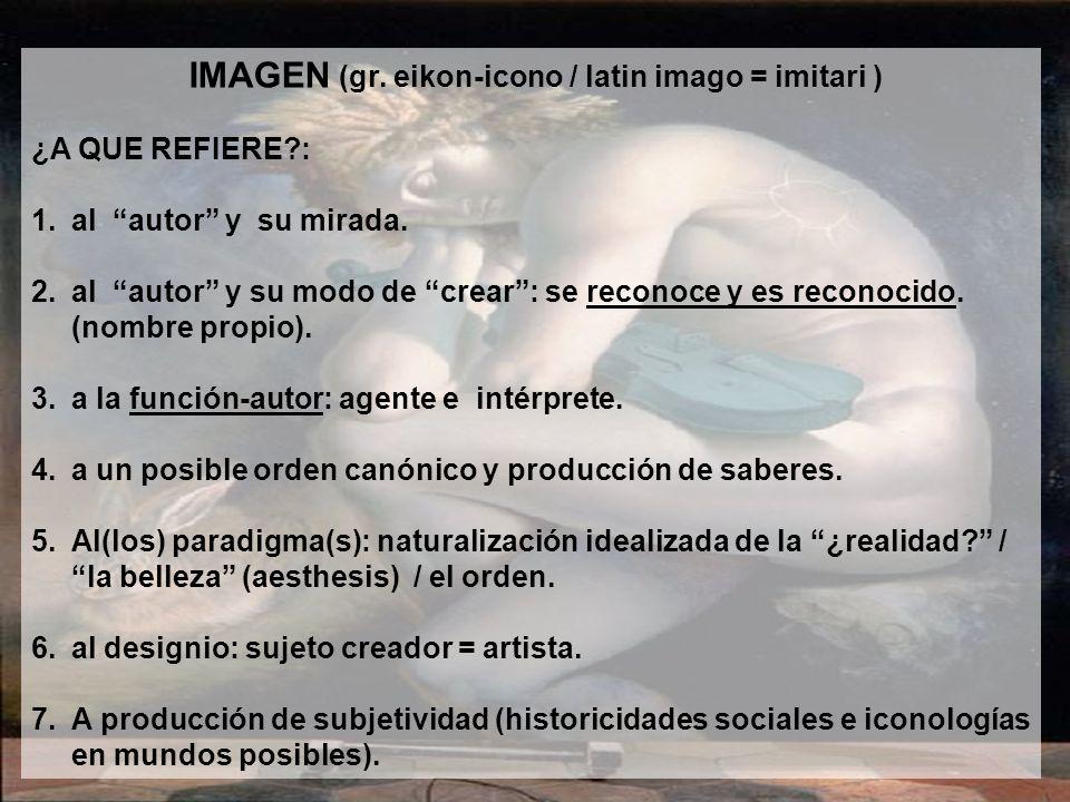 IMAGEN (gr. eikon-icono / latin imago = imitari )