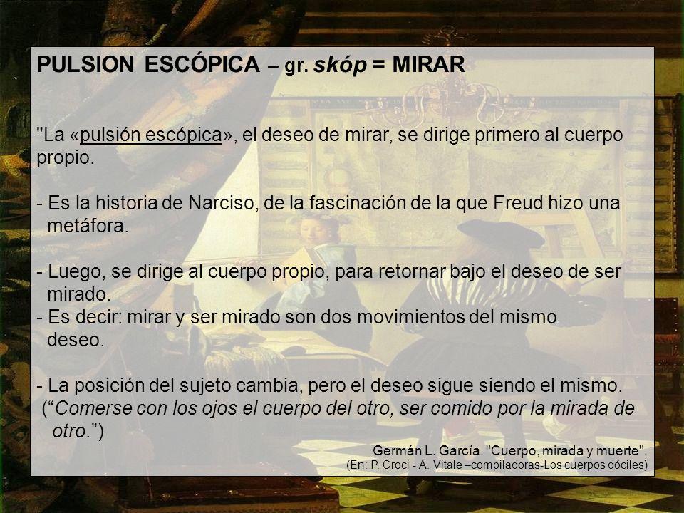 PULSION ESCÓPICA – gr. skóp = MIRAR
