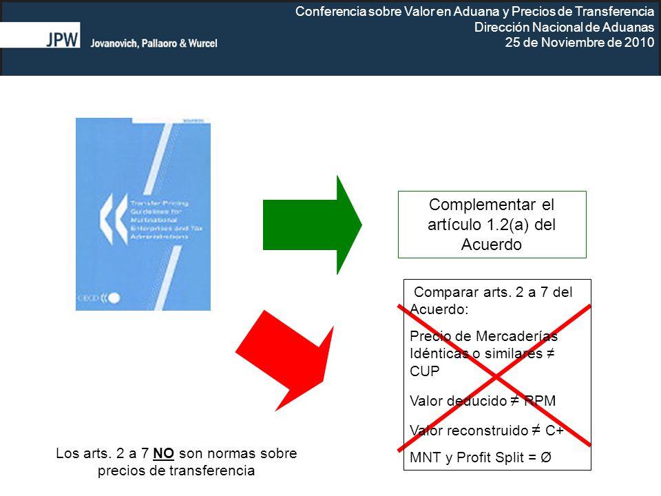 Complementar el artículo 1.2(a) del Acuerdo