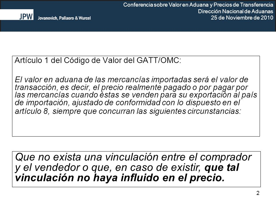 Artículo 1 del Código de Valor del GATT/OMC: